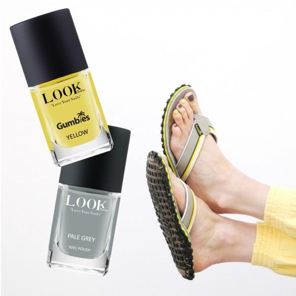 GUMBIES Zehentrenner - Cairns Yellow mit den Nagellacken GUMBIES Yellow & Pale Grey